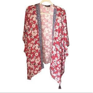 Brand New NWOT Red Floral Kimono with 4 tassels XL